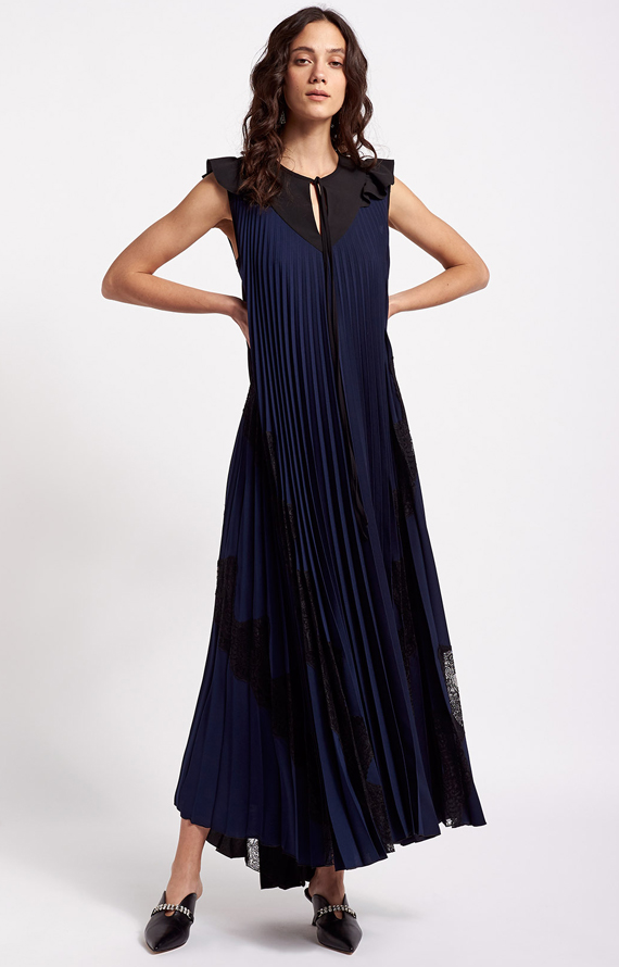 LONG PLEATED DRESS WITH LACE INSERTS