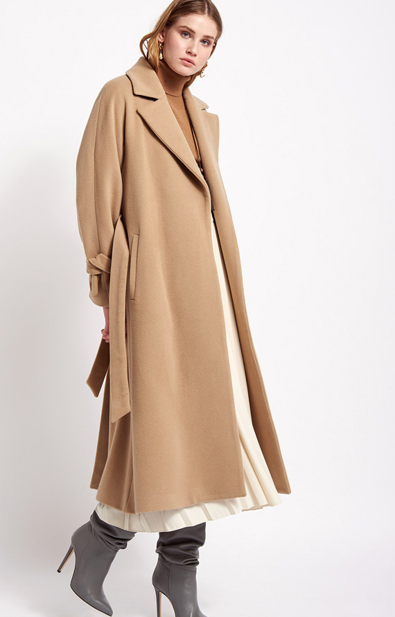 LONG BEIGE COAT WITH LAPELS