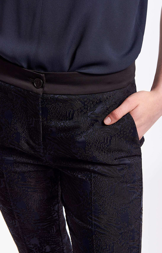 BLUE AND BLACK JACQUARD TROUSERS