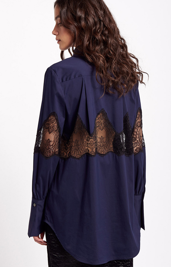 BLUE SHIRT WITH BLACK LACE INSERTS