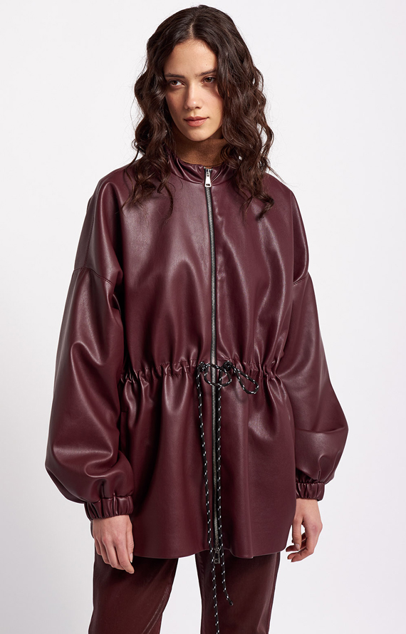 CABAN OVER IN ECOPELLE BORDEAUX