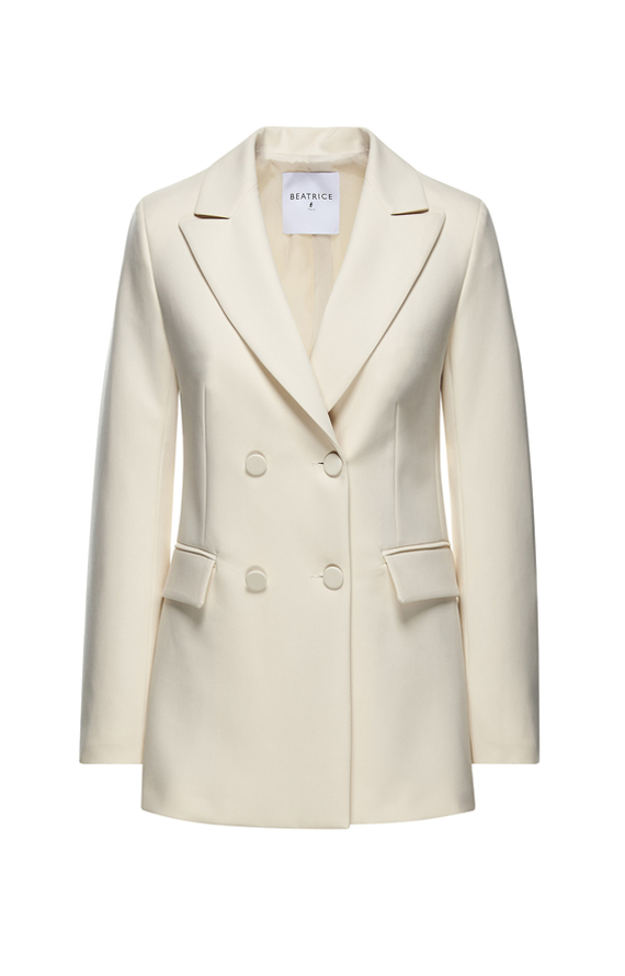 DOUBLE-BREASTED JACKET IN CREAM-COLOURED TECHNICAL FABRIC