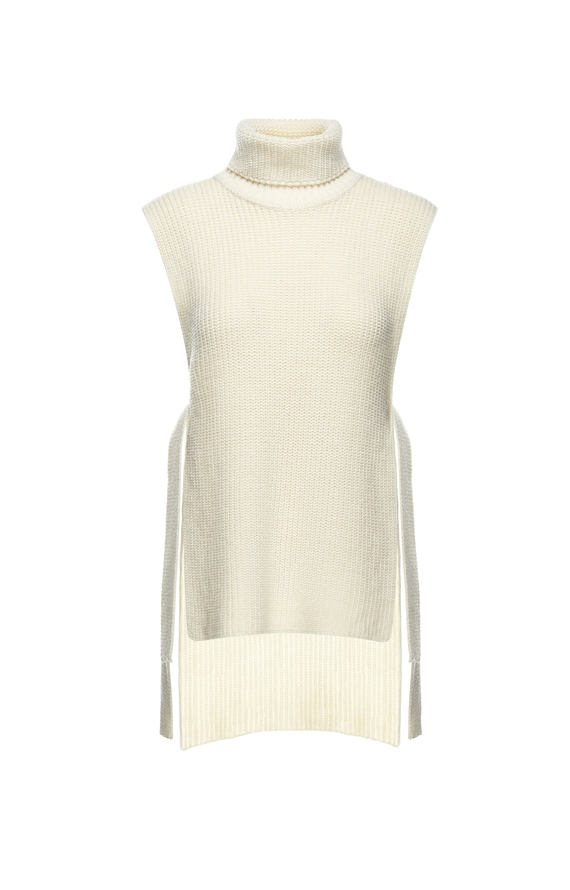 CREAM-COLOURED TURTLENECK VEST WITH SIDE VENTS