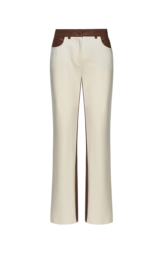 CREAM-COLOURED FABRIC AND BROWN FAUX LEATHER TROUSERS