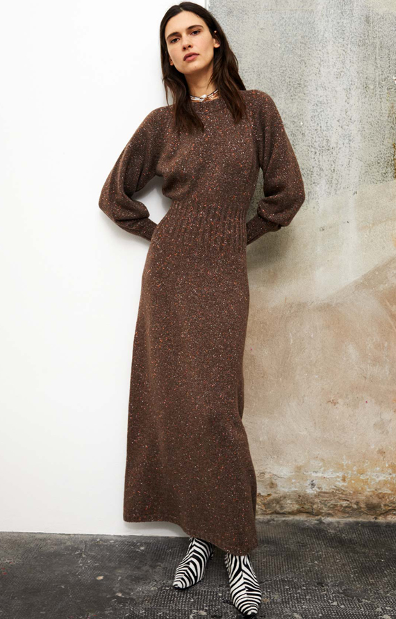 LONG BROWN LUREX KNIT DRESS