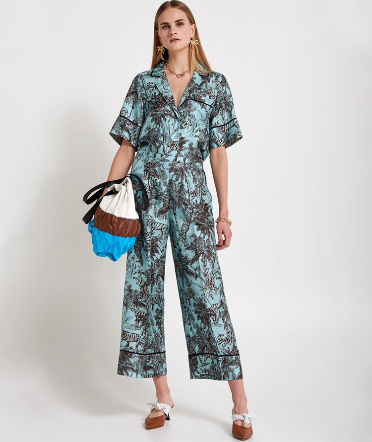 SILK WIDE LEG PANTS WITH EXOTIC PRINT