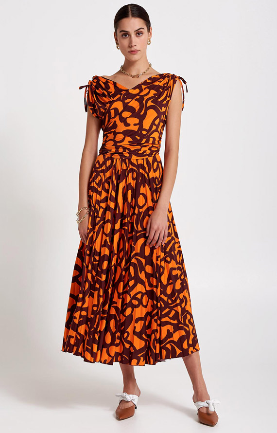 LONG BORDEAUX AND ORANGE PRINTED DRESS