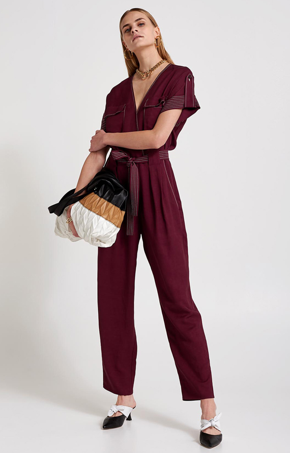 BORDEAUX LINEN JUMPSUIT WITH STITCHES IN CONTRASTING COLOUR