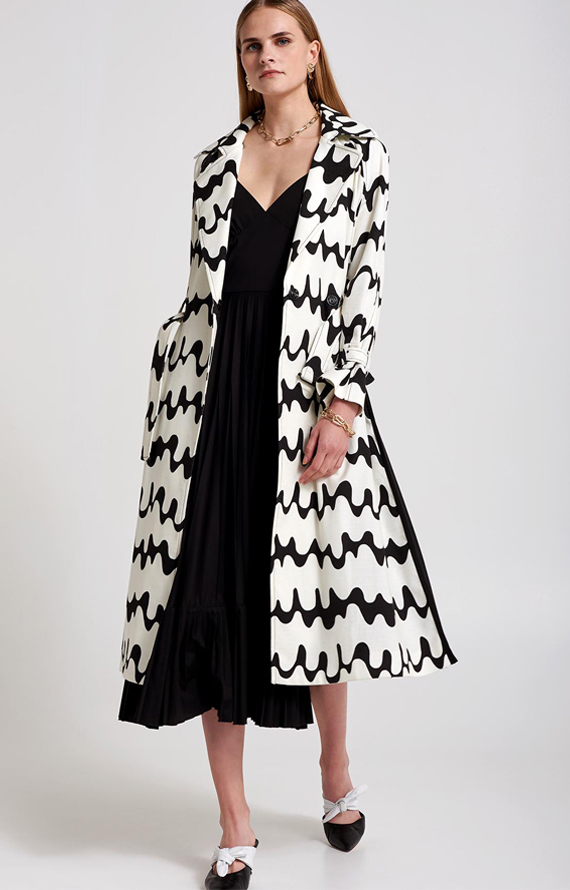 TRENCH COAT WITH WAVY PRINT