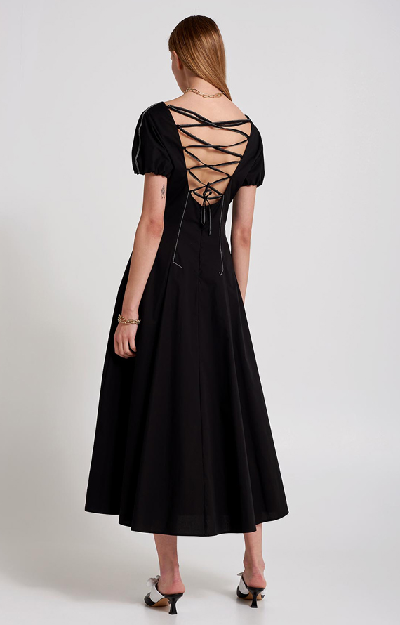 BLACK DRESS WITH TWISTED LACES ON THE REAR