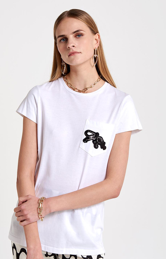 WHITE T-SHIRT WITH EMBROIDERED PANTHER