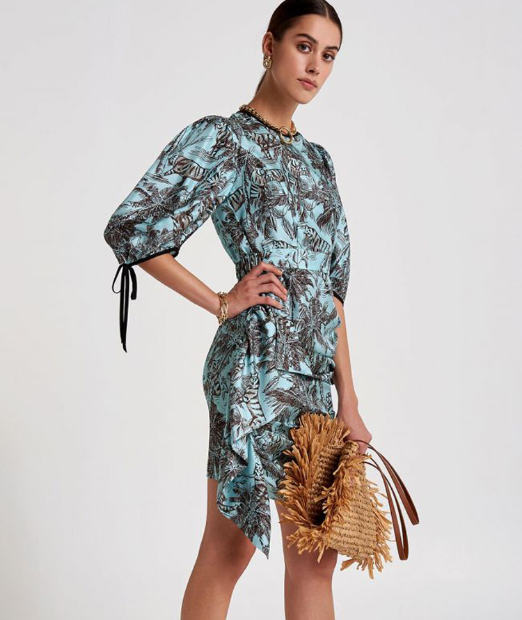 SHORT SILK DRESS WITH EXOTIC PATTERN