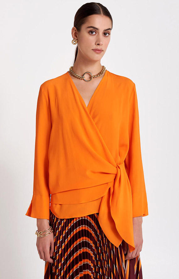 SILK BLEND ORANGE BLOUSE WITH DRAPE