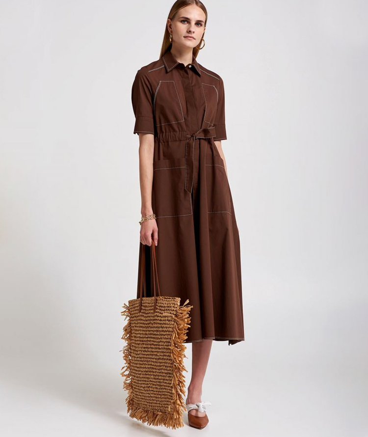 BROWN COTTON DRESS WITH REAR EMBROIDERY