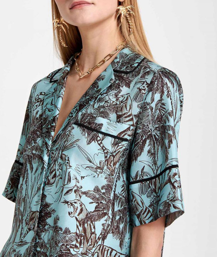 SILK SHIRT WITH EXOTIC PRINT