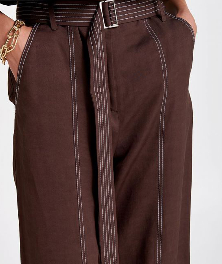 WIDE LEG PANTS WITH STITCHING IN CONTRASTING COLOUR