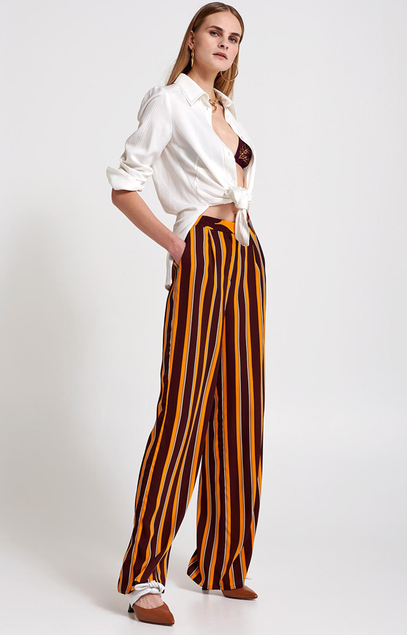 SILK STRIPED WIDE LEG PANTS