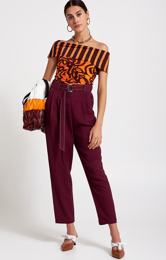 BORDEAUX LINEN CARROT TROUSERS