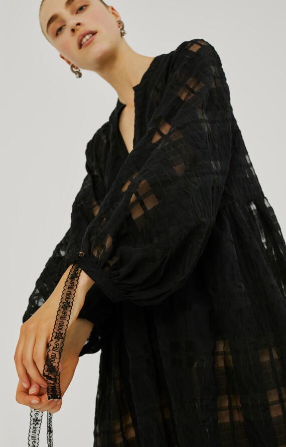 LONG CHECK JACQUARD DRESS