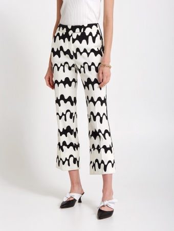 pantalone cropped con stampa a onde 20FE1271109800_1