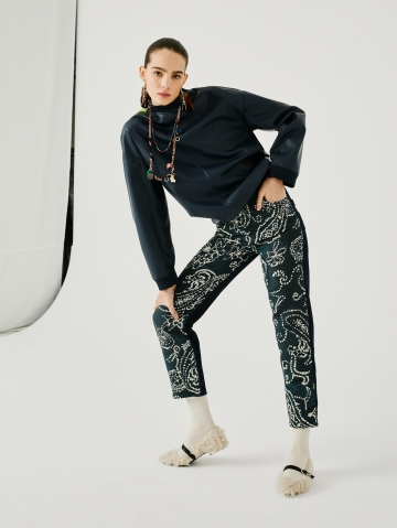 jeans with jacquard fabric mix 21FA1539ARIAN_590