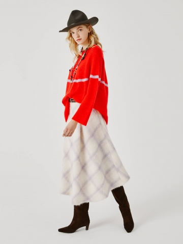 flared skirt in chequered wool 21FA5589DP238_420