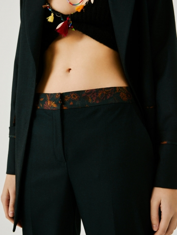 cropped trousers with silk trim 21FA1532X5014_795