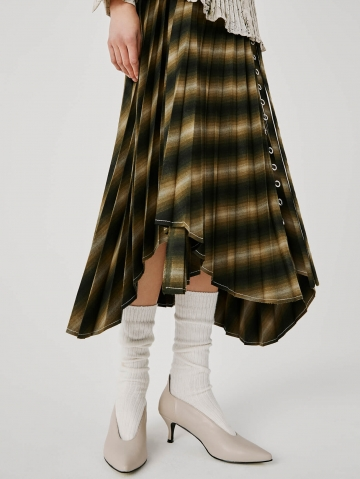 pleated skirt with gradient check 21FA5563TCC185_780