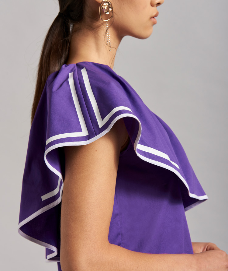 VIOLET ONE-SHOULDER TOP WITH RUFFLE
