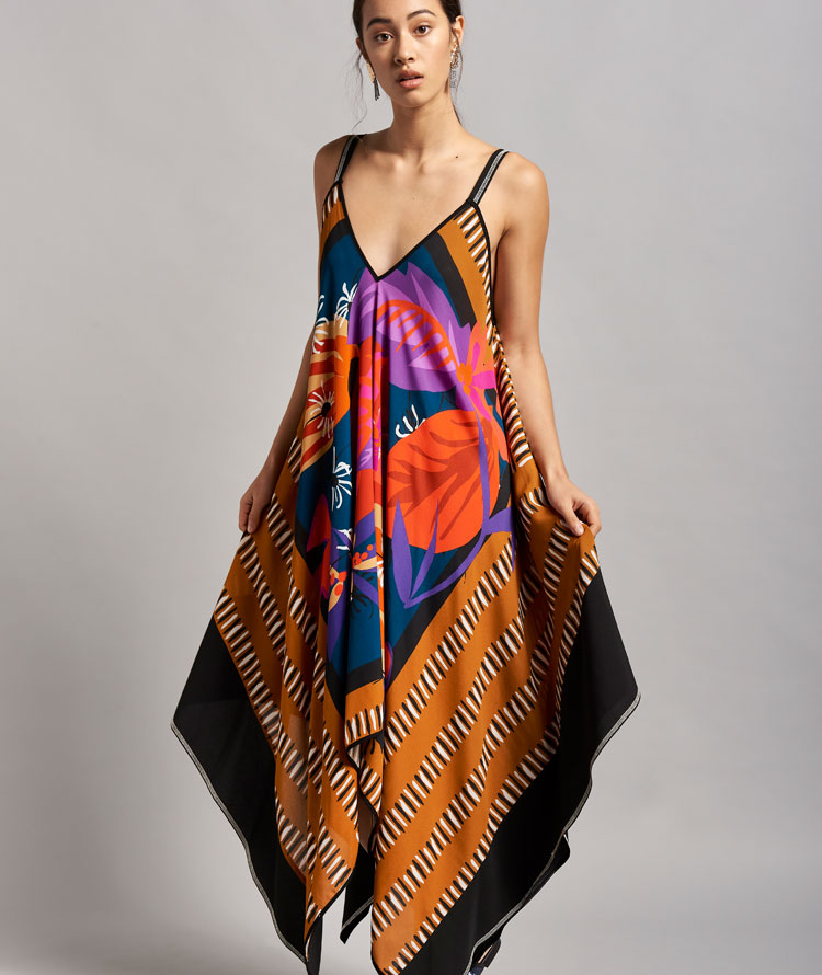 DRESS WITH LEATHER-COLOURED SCARF PRINT